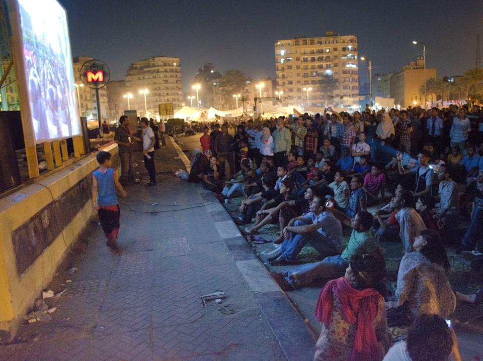 "<p>""Tahrir cinema"" on the square in January 2011 </p> ((Photo: Sherif Gaber))"