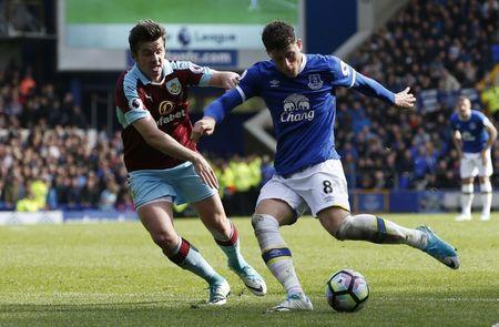 Britain Soccer Football - Everton v Burnley - Premier League - Goodison Park - 15/4/17 Everton's Ross Barkley scores their second goal Reuters / Andrew Yates Livepic