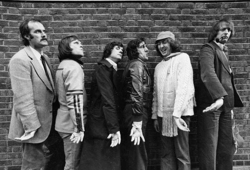 Monty Python John Cleese, Terry Gilliam, Michael Palin, Terry Jones, Eric Idle, Graham Chapman, Los Angeles, May 16th, 1975. (Photo by Ben Martin/Getty Images)