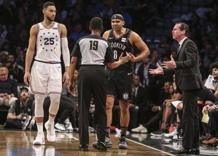 Apr 18, 2019; Brooklyn, NY, USA; Brooklyn Nets forward Jared Dudley (6) and head coach Kenny Atkinson argue with official James Capers (19) in the third quarter in game three of the first round of the 2019 NBA Playoffs at Barclays Center. Mandatory Credit: Wendell Cruz-USA TODAY Sports