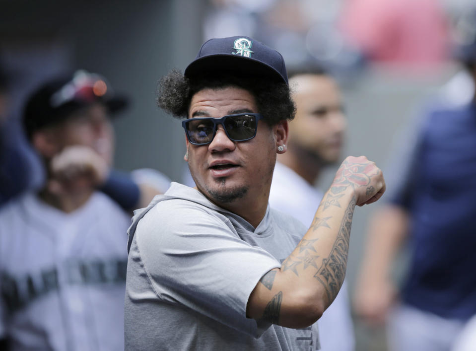 Felix Hernandez got the best of Adrian Beltre from the mound on Tuesday and made sure his buddy knew about it. (AP)