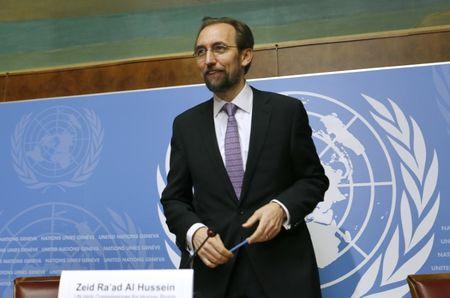 Jordan's Prince Zeid al-Hussein High Commissioner for Human Rights gestures after news conference at UN in Geneva