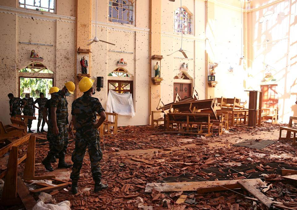 The damage at St. Sebastian Catholic Church, after bomb blasts ripped through churches and luxury hotels on Easter, in Negambo, Sri Lanka. Photo: REUTERS/Athit Perawongmetha