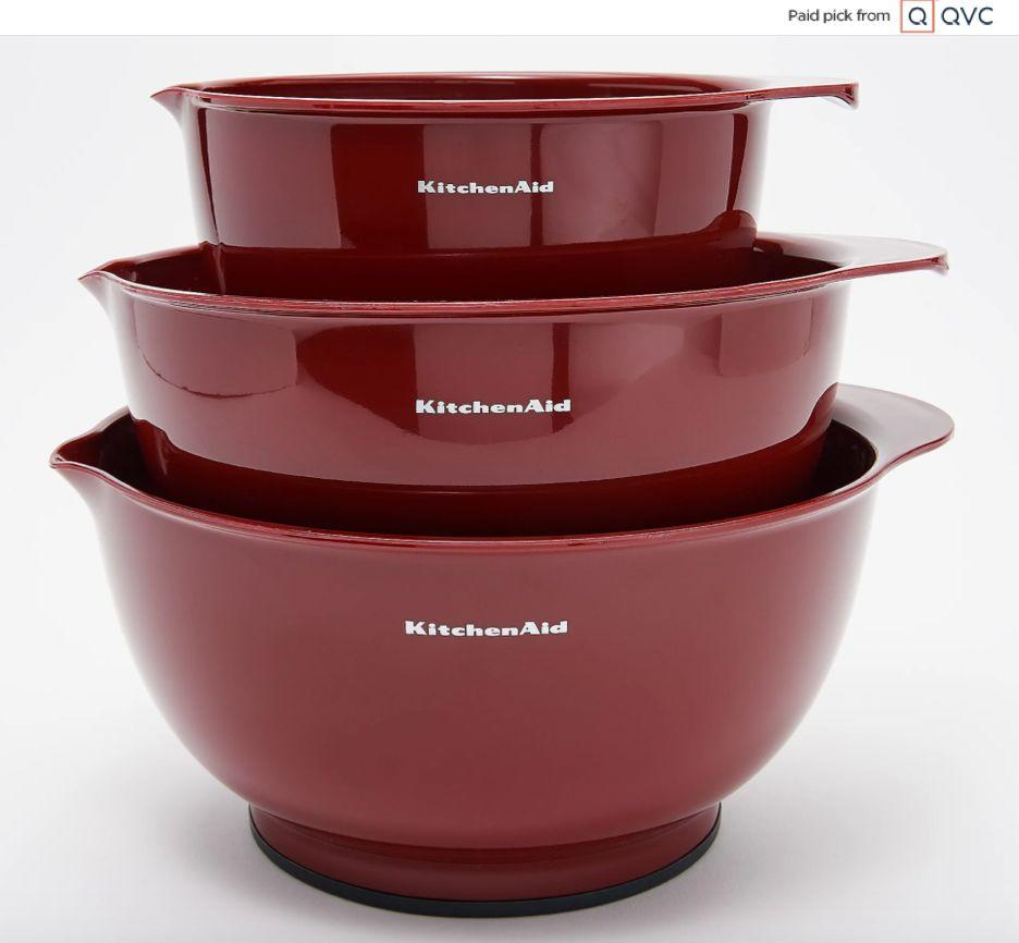 """Chances are your friend is trying out all sorts of fillings, icings and batters. Make sure they have enough room with this trio of mixing bowls from KitchenAid. Each bowl is non-slip and has a pour spout.<a href=""""qvc.uikc.net/0gAAN"""" target=""""_blank"""" rel=""""noopener noreferrer"""">Find the set for $25 at QVC</a>."""