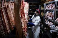 """The butcher's shop of Don Julio restaurant in Buenos Aires -- it is an age-old ritual for Argentines to get together over an """"asado"""" barbecue"""