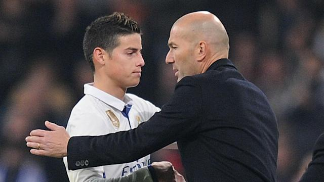 The future of James Rodriguez remains unclear, but Real Madrid boss Zinedine Zidane would not entertain rumours of a close-season exit.
