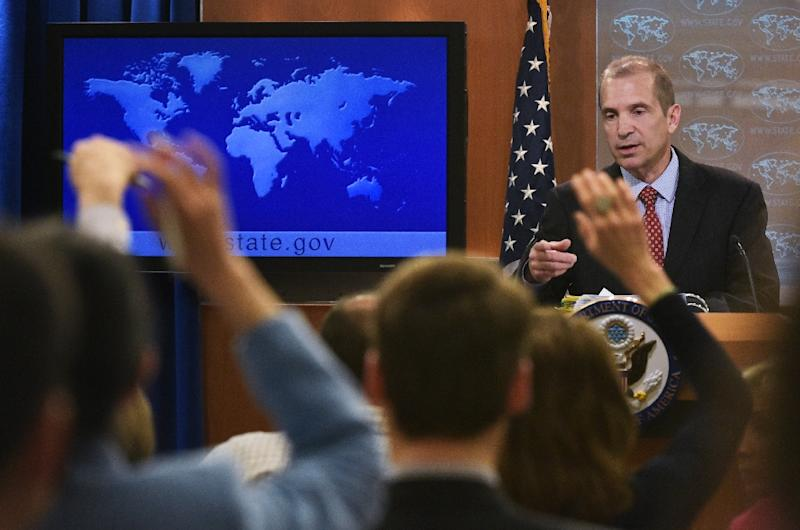 Acting spokesman Mark Toner calls on reporters in the first State Department briefing held since Donald Trump came to power