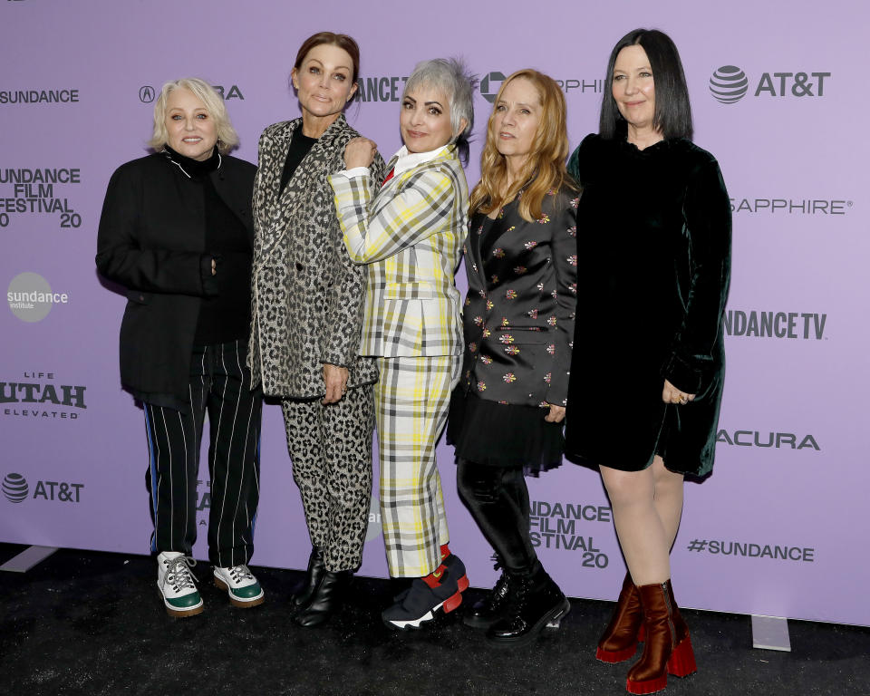 "Gina Shock, Belinda Carlisle, Jane Wiedlin, Charlotte Caffey, and Kathy Valentine of The Go-Gos attend the 'The Go-Gos""'premiere during the 2020 Sundance Film Festival in Park City, Utah. (Photo: Tibrina Hobson/Getty Images)"