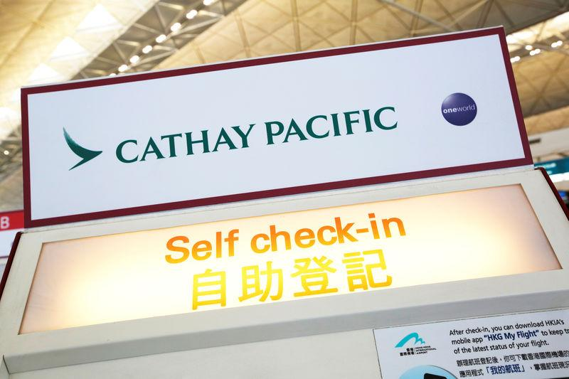 FILE PHOTO: A Cathay Pacific self check-in machine is displayed at Hong Kong Airport