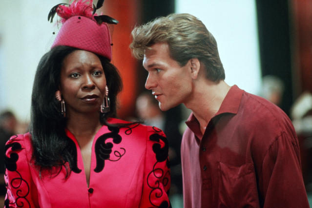 Whoopi Goldberg and Patrick Swayze on set. (Paramount Pictures/Sunset Boulevard/Corbis via Getty Images)
