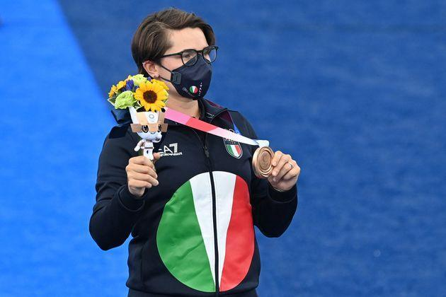 Bronze medallist Italy's Lucilla Boari poses during the women's individual victory ceremony during the Tokyo 2020 Olympic Games at Yumenoshima Park Archery Field in Tokyo on July 30, 2021. (Photo by ADEK BERRY / AFP) (Photo by ADEK BERRY/AFP via Getty Images) (Photo: ADEK BERRY via Getty Images)