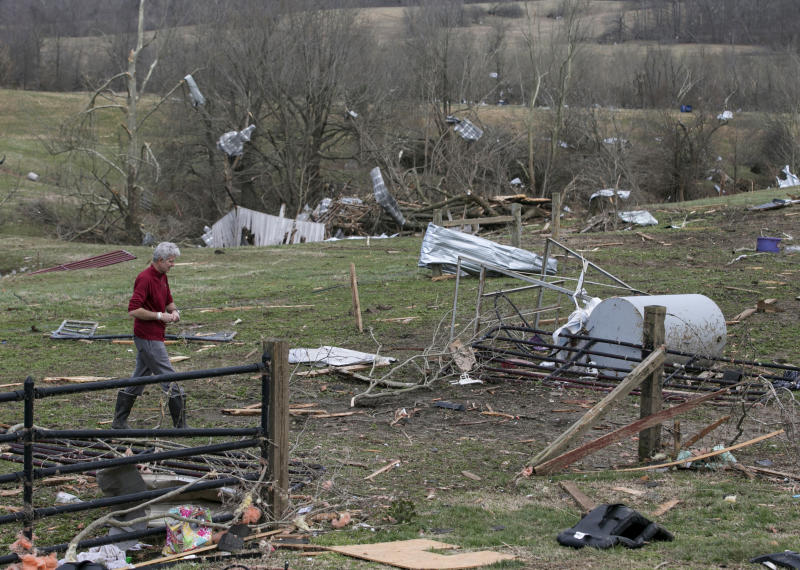 Debris litters a field after a tornado touched down in McCracken County, Ky., on Thursday, March 14, 2019. (Ellen O'Nan/The Paducah Sun via AP)
