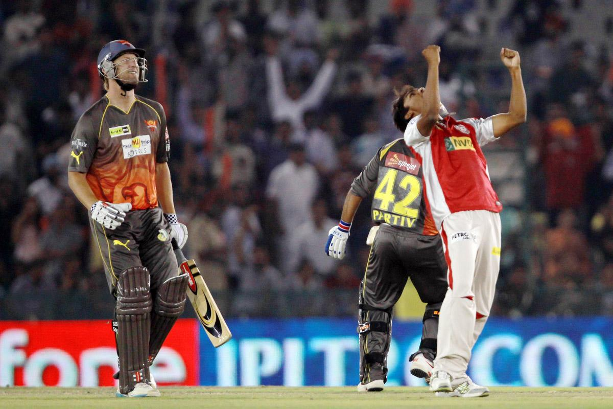 Sandeep Sharma celebrates the wicket of Cameron White during match 59 of of the Pepsi Indian Premier League between The Kings XI Punjab and the Sunrisers Hyderabad held at the PCA Stadium, Mohali, India  on the 11th May 2013. (BCCI)