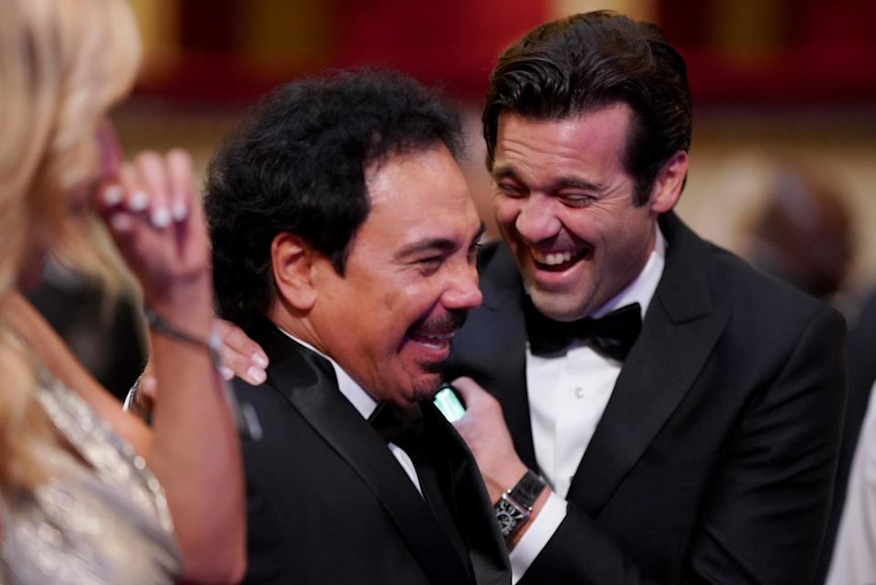 MILAN, ITALY - SEPTEMBER 23: FIFA Legends Santiago Solari (R) of Argentina  and Hugo Sanchez share a joke during The Best FIFA Football Awards 2019 at Teatro alla Scala on September 23, 2019 in Milan, Italy. (Photo by Simon Hofmann - FIFA/FIFA via Getty Images)