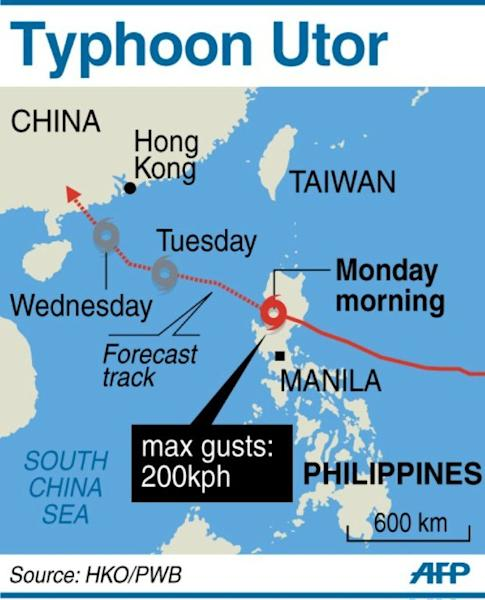 Graphic showing the path of Typhoon Utor as it slams into the Philippines packing gusts of up to 200 kilometres per hour on August 12, 2013