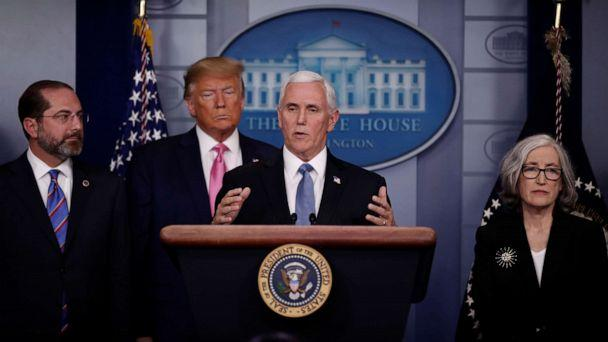 PHOTO: Vice President Mike Pence gives a news conference next to President Donald Trump at the White House, Feb.26, 2020. (Carlos Barria/Reuters)