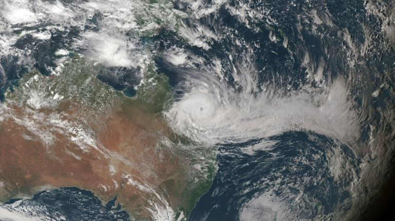 Cyclone Debbie has been downgraded to a tropical low but damaging wind gusts and intense rain are still expected, March 29, 2017