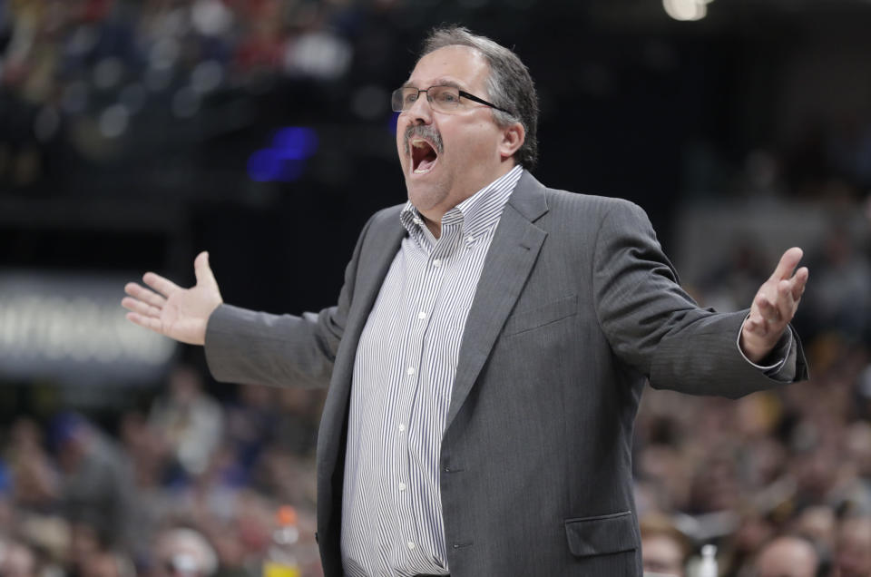 FILE - In this Dec. 15, 2017, file photo, Detroit Pistons head coach Stan Van Gundy gestures during the second half of an NBA basketball game against the Indiana Pacers in Indianapolis. Two people with knowledge of the situation say Stan Van Gundy has agreed to become the next coach of the New Orleans Pelicans, where he'll get the chance to work with No. 1 overall draft pick Zion Williamson. Van Gundy agreed to a four-year contract, according to one of the people who spoke Wednesday, Oct. 21, 2020, to The Associated Press on condition of anonymity because the hiring has not been announced. (AP Photo/Michael Conroy, File)
