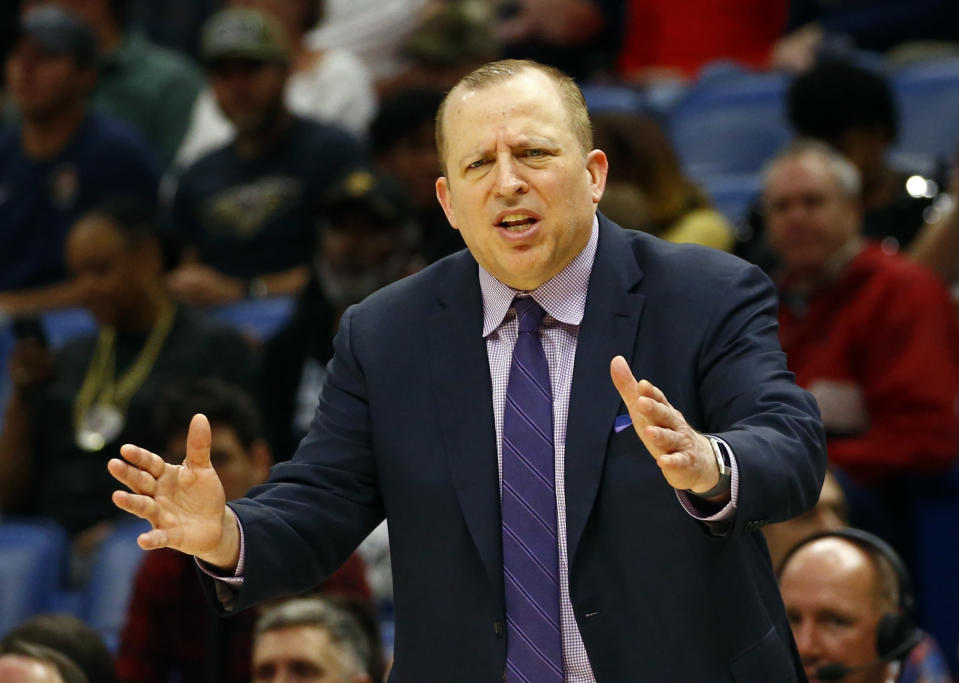 Minnesota Timberwolves head coach Tom Thibodeau reacts to a call during the first half of an NBA basketball game against the New Orleans Pelicans, Monday, Dec. 31, 2018, in New Orleans. (AP Photo/Butch Dill)