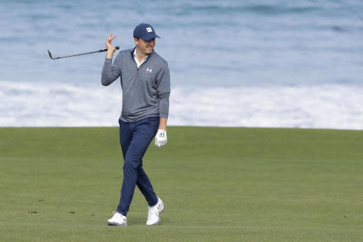Jordan Spieth walks on the 10th fairway during a practice round for the U.S. Open Championship golf tournament Wednesday, June 12, 2019, in Pebble Beach, Calif. (AP Photo/Matt York)