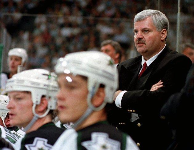 Dallas Stars coach Ken Hitchcock watches his team from the bench, in the first period against the Detroit Red Wings in Game 2 of the Western Conference Finals in Dallas, Tuesday, May 26, 1998. (AP Photo/Bill Waugh)