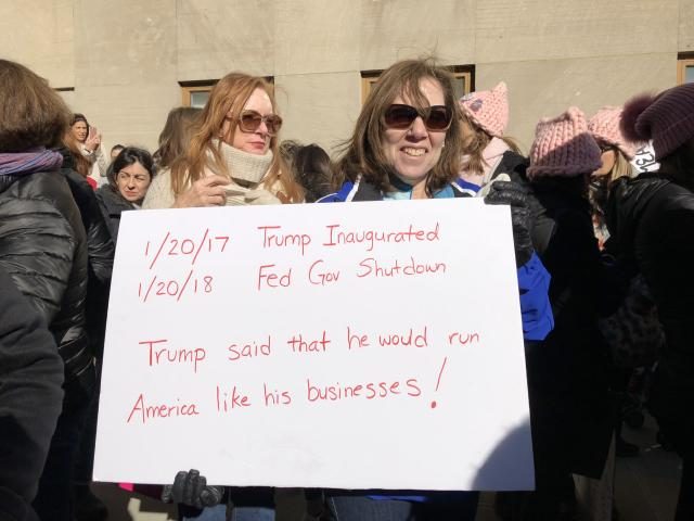 Doria Bachenheimer attended the march with her friend Cheryl Snow. (Photo: Lisa Belkin/Yahoo News)