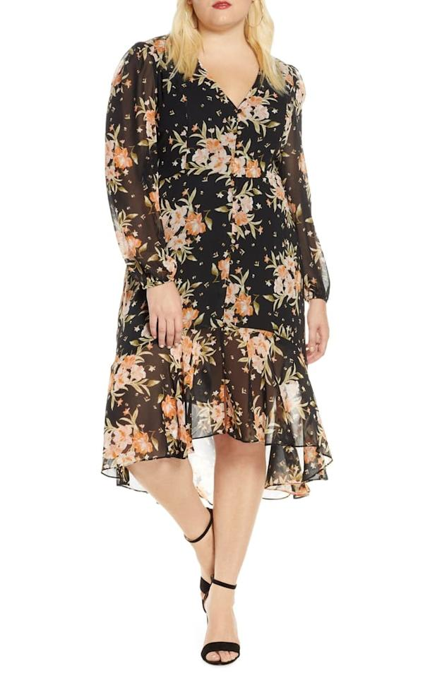 """<p>The print on this <a href=""""https://www.popsugar.com/buy/Leith-Floral-Midi-Dress-493507?p_name=Leith%20Floral%20Midi%20Dress&retailer=shop.nordstrom.com&pid=493507&price=69&evar1=fab%3Aus&evar9=45759411&evar98=https%3A%2F%2Fwww.popsugar.com%2Fphoto-gallery%2F45759411%2Fimage%2F46667754%2FLeith-Floral-Print-Midi-Dress&list1=shopping%2Cfall%20fashion%2Cdresses%2Cfall%2Cspring%2Csummer%2Cspring%20fashion%2Csummer%20fashion%2Ccurvy%20fashion&prop13=api&pdata=1"""" rel=""""nofollow"""" data-shoppable-link=""""1"""" target=""""_blank"""" class=""""ga-track"""" data-ga-category=""""Related"""" data-ga-label=""""https://shop.nordstrom.com/s/leith-floral-print-midi-dress-plus-size/5313482?origin=keywordsearch-personalizedsort&amp;breadcrumb=Home%2FAll%20Results&amp;color=black%20blushing%20floral"""" data-ga-action=""""In-Line Links"""">Leith Floral Midi Dress</a> ($69) is so pretty.</p>"""