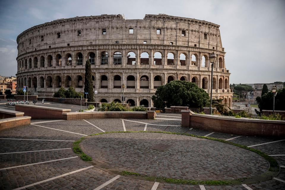 ROME, ITALY - MARCH 30: The area around Colosseum (Colosseo) empty of tourists during the Coronavirus emergency, on March 30, 2020 in Rome, Italy. The Italian government continues to enforce the nationwide lockdown measures to control the spread of COVID-19. (Photo by Antonio Masiello/Getty Images) (Photo: Antonio Masiello via Getty Images)