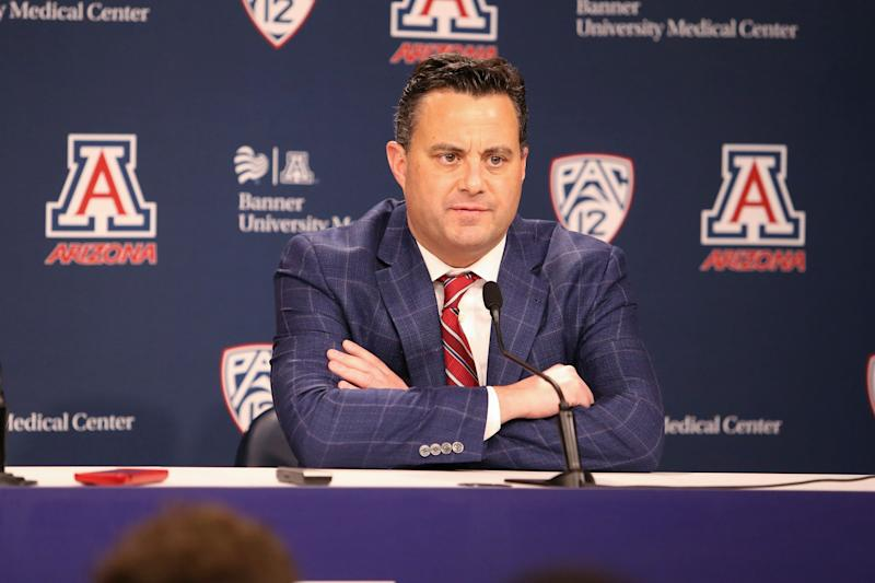 TUCSON, AZ - FEBRUARY 07: Arizona Wildcats head coach Sean Miller talks with the media after a college basketball game between the Washington Huskies and the Arizona Wildcats on February 07, 2019, at McKale Center in Tucson, AZ. (Photo by Jacob Snow/Icon Sportswire via Getty Images)