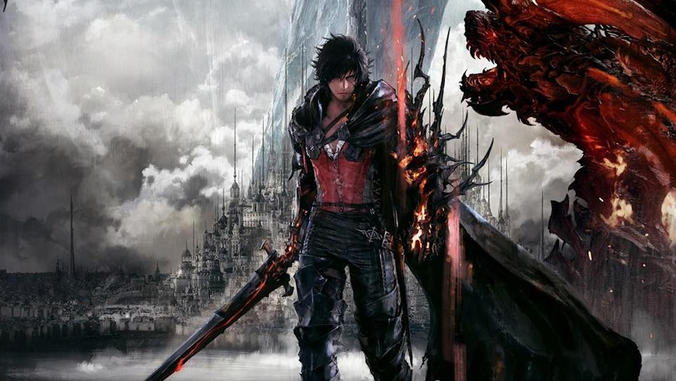 The lead character of Final Fantasy XVI brandishing a large sword, standing in front of a fantastical cityscape and a large red beast in the righthand corner.