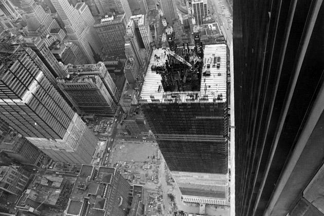 A view of the construction of the 110th floor twin story World Trade Center Towers in an undated photo in New York City. Two hijacked planes crashed into the World Trade Center September 11, 2001, destroying the towers. (Photo by Getty Images)