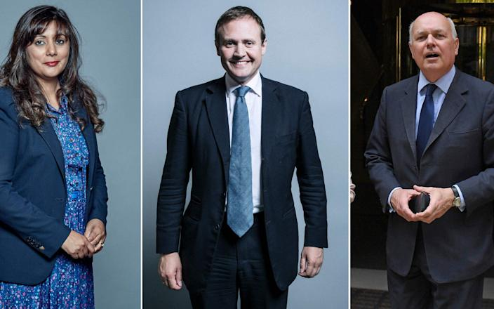Tom Tugendhat (C) is one of several MPs including Iain Duncan Smith (R) and Nusrat Ghani (L) to have been sanctioned by China - AFP