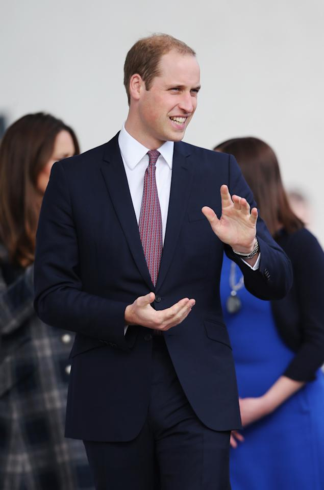 GLASGOW, UNITED KINGDOM - APRIL 04:  Prince William, Earl of Strathearn visits the Donald Dewar Leisure Centre to launch a new project for their foundation on April 4, 2013 in Glasgow, Scotland. The Royal Foundation of The Duke and Duchess of Cambridge and Prince Harry is partnering with Glasgow Sport and the Hunter Foundation on a new pilot as part of its national Coach Core initiative.  (Photo by Chris Jackson/Getty Images)