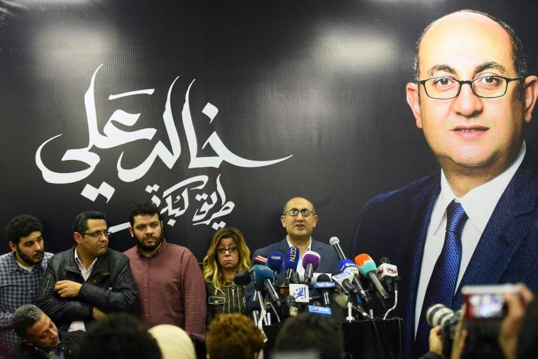 Egyptian human rights lawyer Khaled Ali speaks during a press conference in Cairo, on January 24, 2018