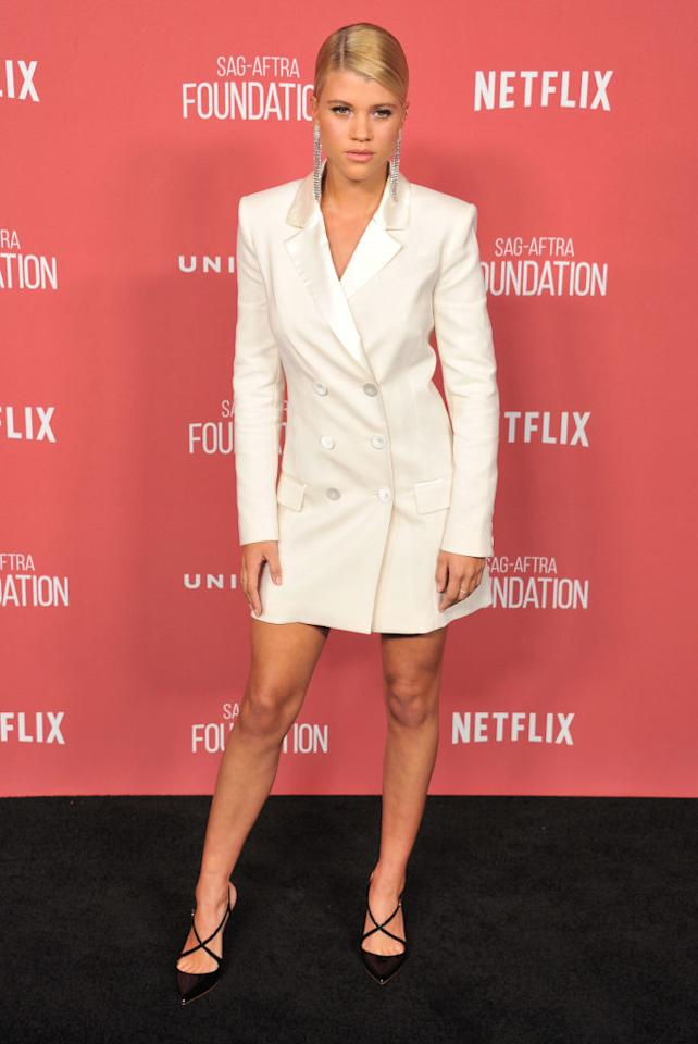 <p>Sofia Richie donned a tuxedo-style dress for the event which she attended with her father, Lionel. <em>[Photo: Getty]</em> </p>