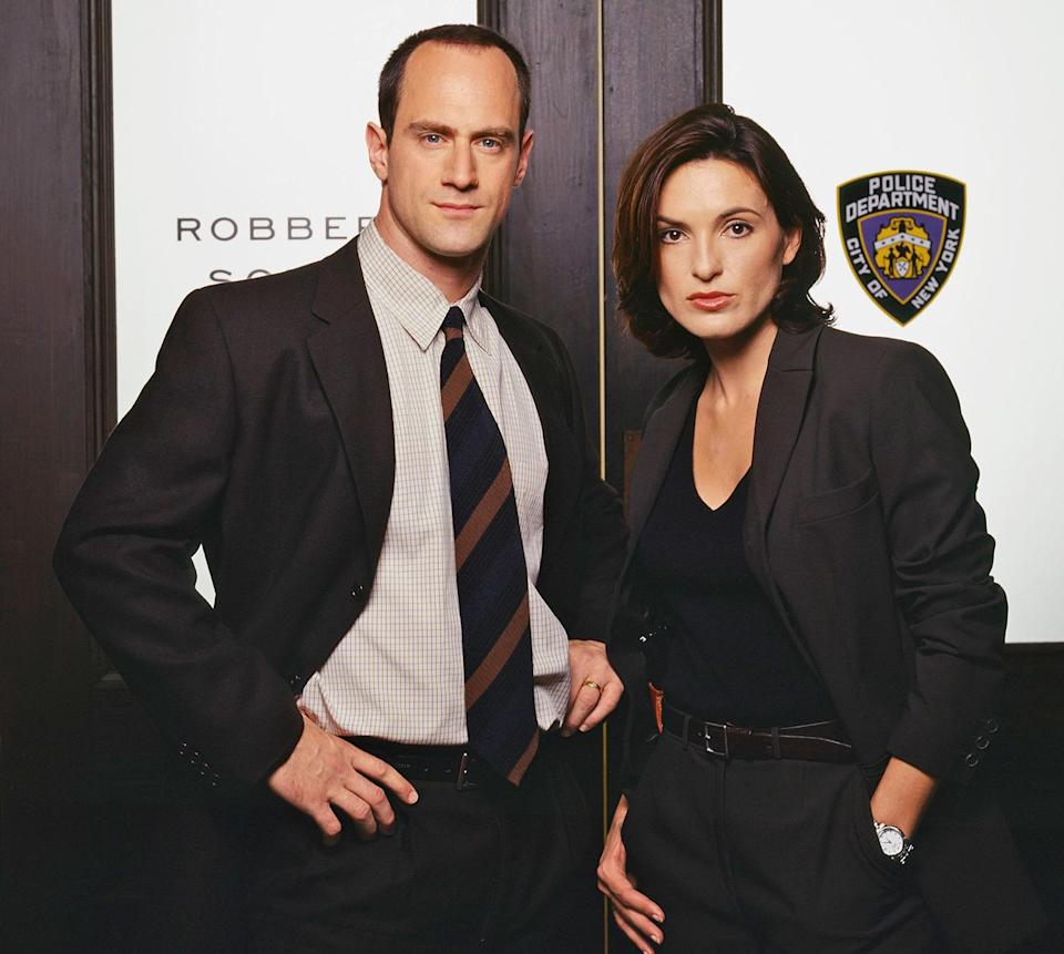 """<p>Their chemistry off screen made for even better chemistry on the show, with Hargitay playing the even-keeled """"good cop,"""" Olivia Benson, and Meloni playing the passionate (and at times impulsive) Stabler. </p>"""
