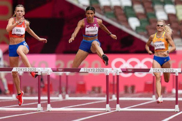 PHOTO: Sydney Mclaughlin, of the United States, wins the women's 400-meter hurdles final at the 2020 Summer Olympics, Aug. 4, 2021, in Tokyo, Japan. (Petr David Josek/AP Photo)
