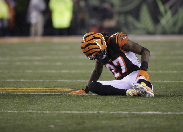 FILE - In this Jan. 9, 2016, file photo, Cincinnati Bengals cornerback Dre Kirkpatrick (27) is shown during the first half of an NFL wild-card playoff football game against the Pittsburgh Steelers, in Cincinnati. With their first playoff victory since 1990 seemingly secured, the Bengals went into one of the biggest meltdowns in NFL history and lost to the Steelers, ending their 2015 season. It was the start of six straight losses to their AFC North rival, a stretch of futility that they cant avoid as they get ready to meet again. (AP Photo/John Minchillo, File)
