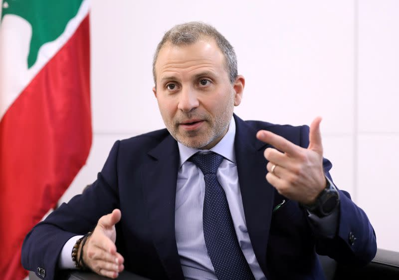 FILE PHOTO: Gebran Bassil, a Lebanese politician and head of the Free Patriotic movement, talks during an interview with Reuters in Sin-el-fil