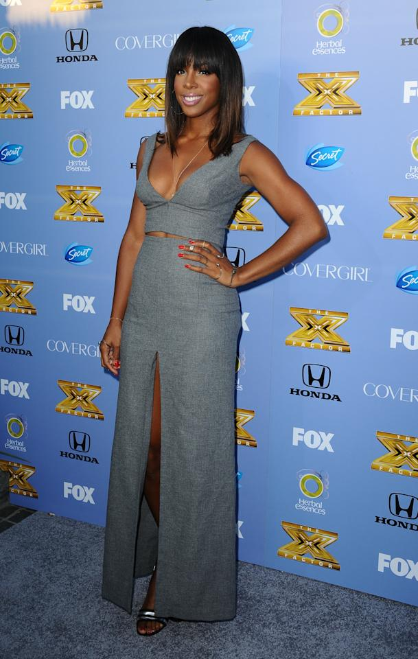 "Kelly Rowland arrives at Fox's ""The X Factor"" Season 3 premiere party at Ciccone Restaurant on September 5, 2013 in West Hollywood, California."