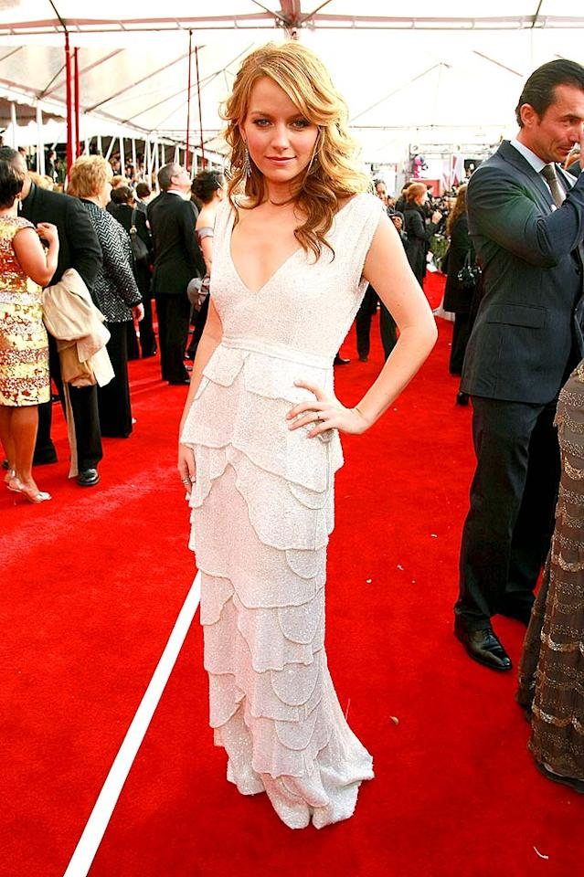 """""""Ugly Betty's"""" Becki Newton strikes a fierce pose. Unfortunately, this photo does not do her gorgeous layered dress justice. Dimitrios Kambouris/<a href=""""http://www.wireimage.com"""" target=""""new"""">WireImage.com</a> - January 27, 2008"""