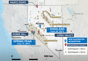 Location of the Spring Peak Project and other Headwater Nevada projects.