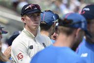 England's Zak Crawley watches the presentation ceremony after their loss in the second cricket test match against New Zealand at Edgbaston in Birmingham, England, Sunday, June 13, 2021. New Zealand won the series 1-0. (AP Photo/Rui Vieira)