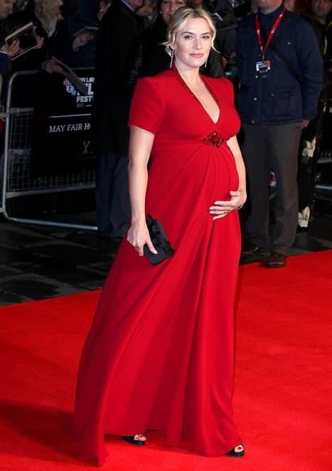 Kate Winslet Shows Off Growing Baby Bump in Gorgeous Red Gown at Labor Day Screening: Picture