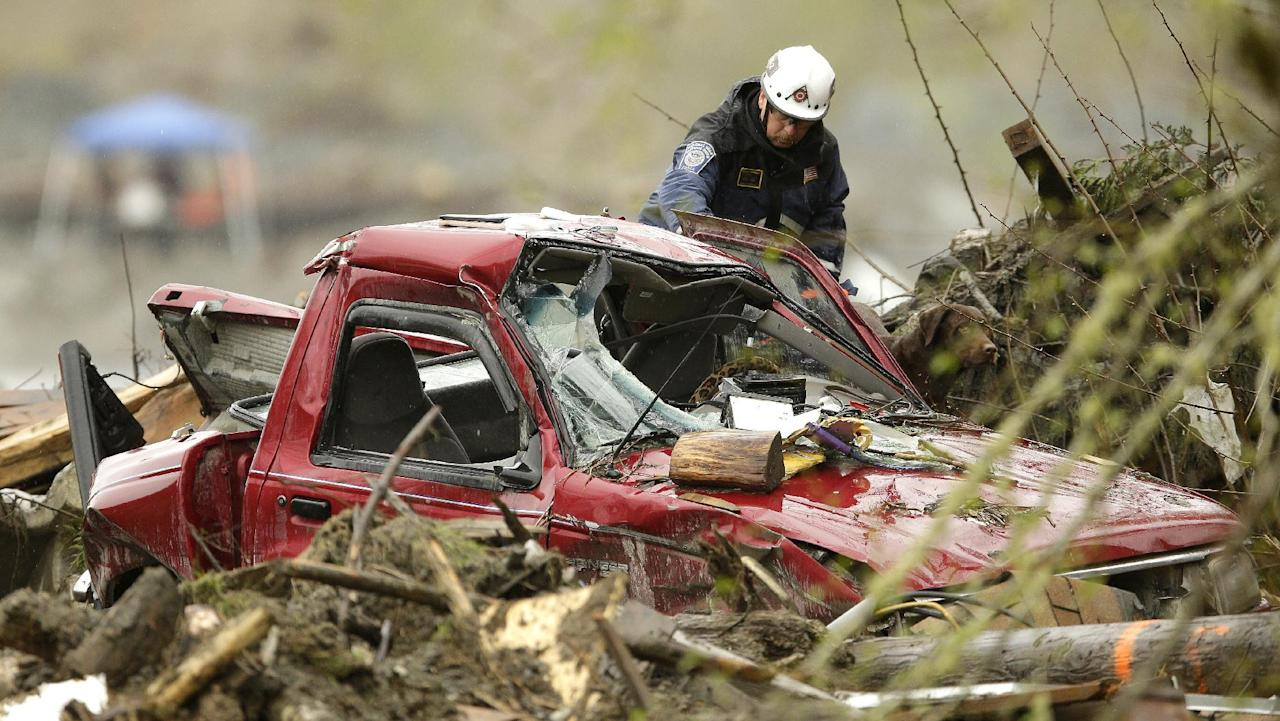 In this Wednesday, April 16, 2014, photo, a worker with a search dog stands next to a wrecked truck belonging to Robin Youngblood, who survived the massive deadly mudslide that hit the community of Oso, Wash., on March 22, 2014. When President Barack Obama arrives for a visit Tuesday, April 22, he is expected to view the destruction and meet with survivors, first responders, search workers and local officials. (AP Photo/Ted S. Warren)