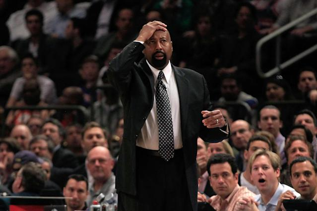 NEW YORK, NY - MARCH 28: Head coach Mike Woodson of the New York Knicks looks on against the Orlando Magic at Madison Square Garden on March 28, 2012 in New York City. NOTE TO USER: User expressly acknowledges and agrees that, by downloading and/or using this Photograph, user is consenting to the terms and conditions of the Getty Images License Agreement. (Photo by Chris Trotman/Getty Images)