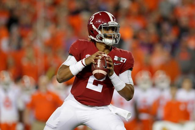"Yes, <a class=""link rapid-noclick-resp"" href=""/ncaaf/players/264323/"" data-ylk=""slk:Jalen Hurts"">Jalen Hurts</a> is Alabama's starting quarterback. (Getty)"