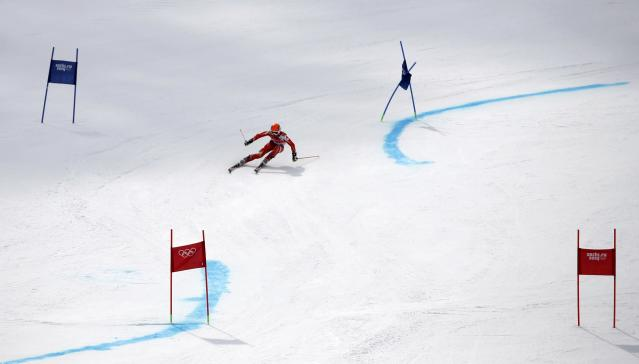 San Marino's Vincenzo Romano Michelotti skis during the first run of the men's alpine skiing giant slalom event at the 2014 Sochi Winter Olympics at the Rosa Khutor Alpine Center February 19, 2014. REUTERS/Leonhard Foeger (RUSSIA - Tags: SPORT SKIING OLYMPICS)