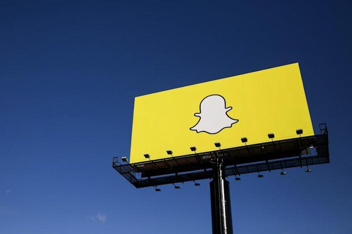 An advertising billboard featuring the Snapchat logo in Richfield, Minnesota on October 24, 2015. Photo by Kristoffer Tripplaar *** Please Use Credit from Credit Field ***