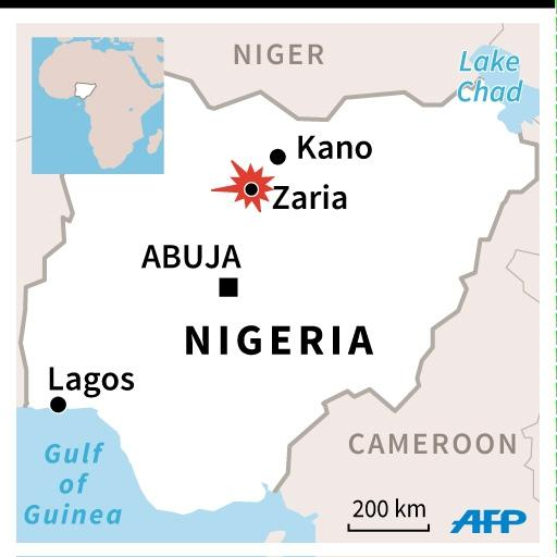 Map of Nigeria locating Zaria. 45 x 45 mm (AFP Photo/Gillian HANDYSIDE)